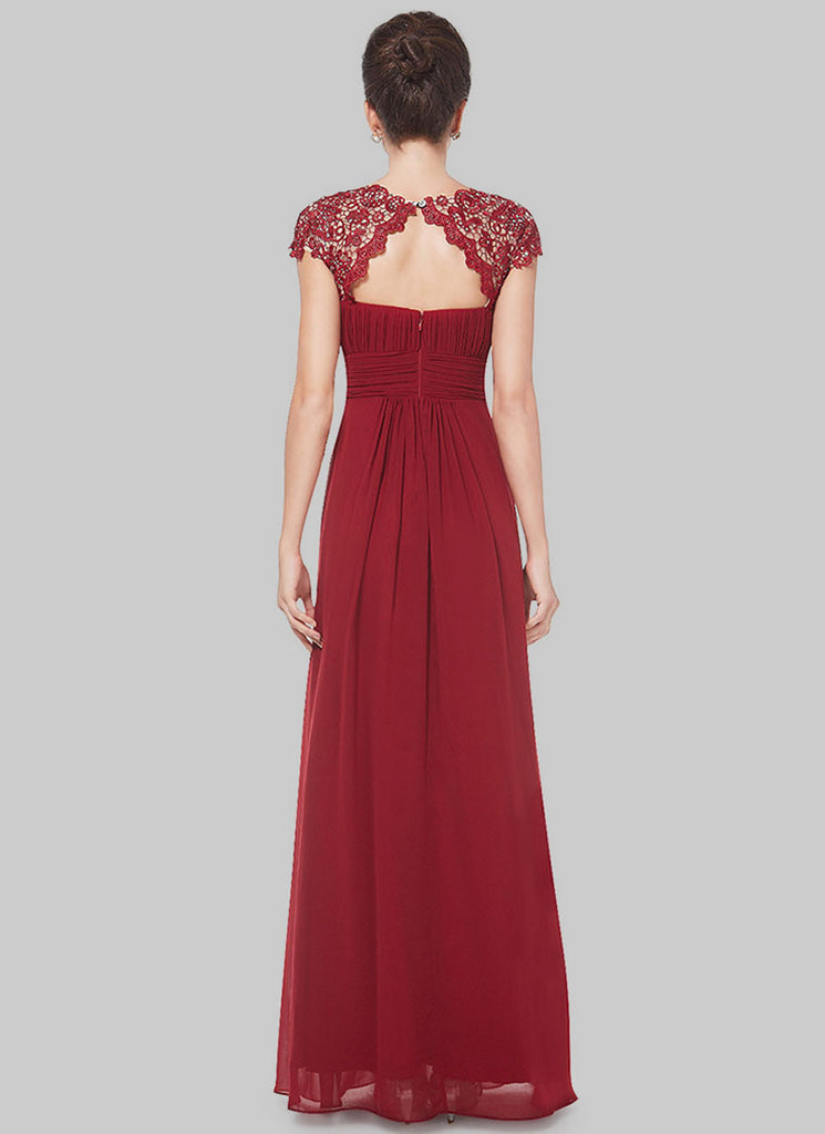 Embellished Open Back Maroon Lace Chiffon Evening Gown RM450 – RobePlus