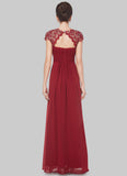 Embellished Open Back Maroon Lace Chiffon Evening Gown RM450