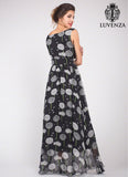 Black Silk Chiffon Dandelion Print Maxi Dress with Empire Waist