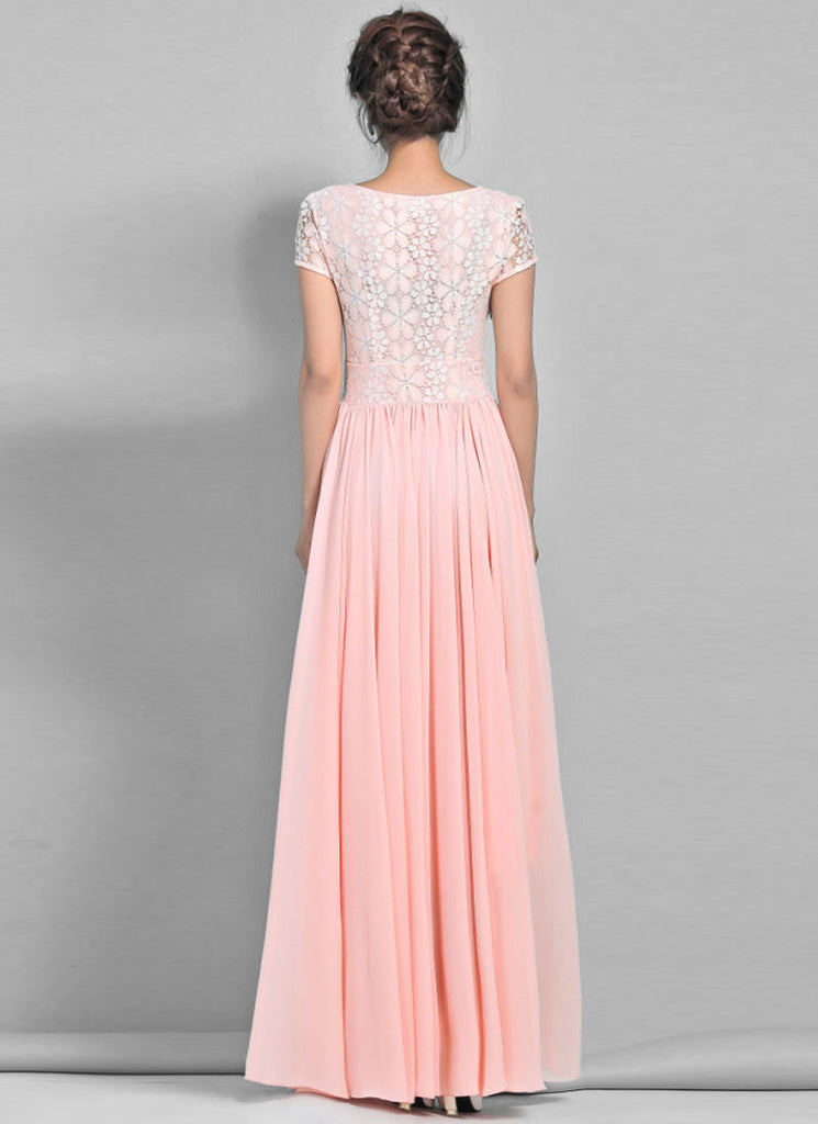 dd3ff9aa17f Dusty Rose Pink Lace Chiffon Maxi Dress with Cap Sleeves RM320 ...
