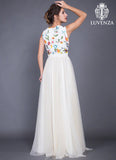 Vintage Style Tulle Evening Gown with Multi-Color Floral Embroidery on Bodice
