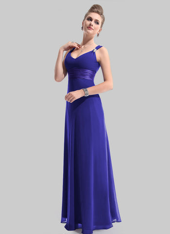 Empire Waisted Slate Blue Maxi Dress with V Neck and V Back RM470
