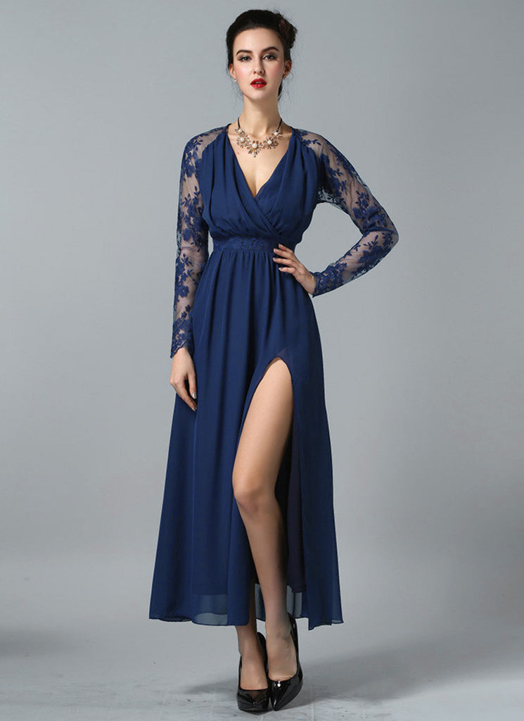Long Sleeved Navy Lace Chiffon Maxi Dress with V Neck and Faux Surplice Bodice