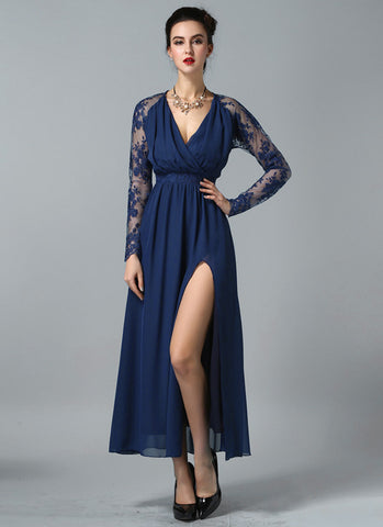 Long Sleeved Navy Lace Chiffon Maxi Dress with V Neck and Faux Surplice Bodice RM605