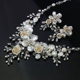 Hand Wired Bridal Headpiece - Luxurious Crystal Crown with Floral Pattern - Fresh Water Pearl and Rhinestone Bridal Halo HP19