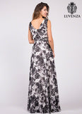 Black and White Floral Print Maxi Dancing Dress with Boat Neckline