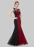 Black and Maroon Mermaid Evening Gown with Lace Details