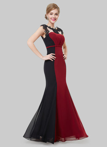Black and Maroon Mermaid Evening Gown with Lace Details RM475