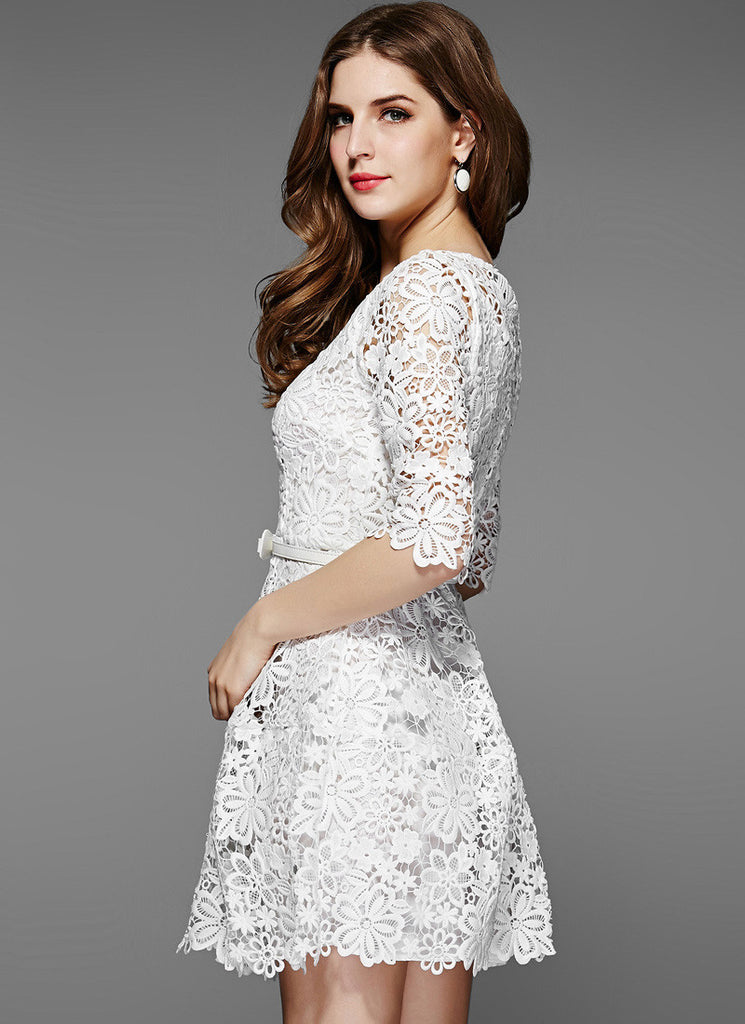 c9e47c32328ae White Lace Mini Fit and Flare Dress with Floral Scalloped Hem RD534 ...