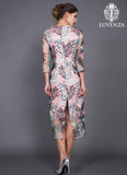Nude Pink Floral Embroidered Organza Lace Midi Dress with High Back Slit