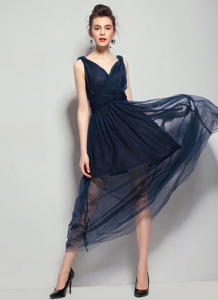 Navy Tulle Maxi Dress with V Neck V Back Maxi Dress & Ruched Waist Yoke