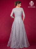 Long Gray Star Embroidered Lace Vintage Style Evening Gown with Long Sleeves