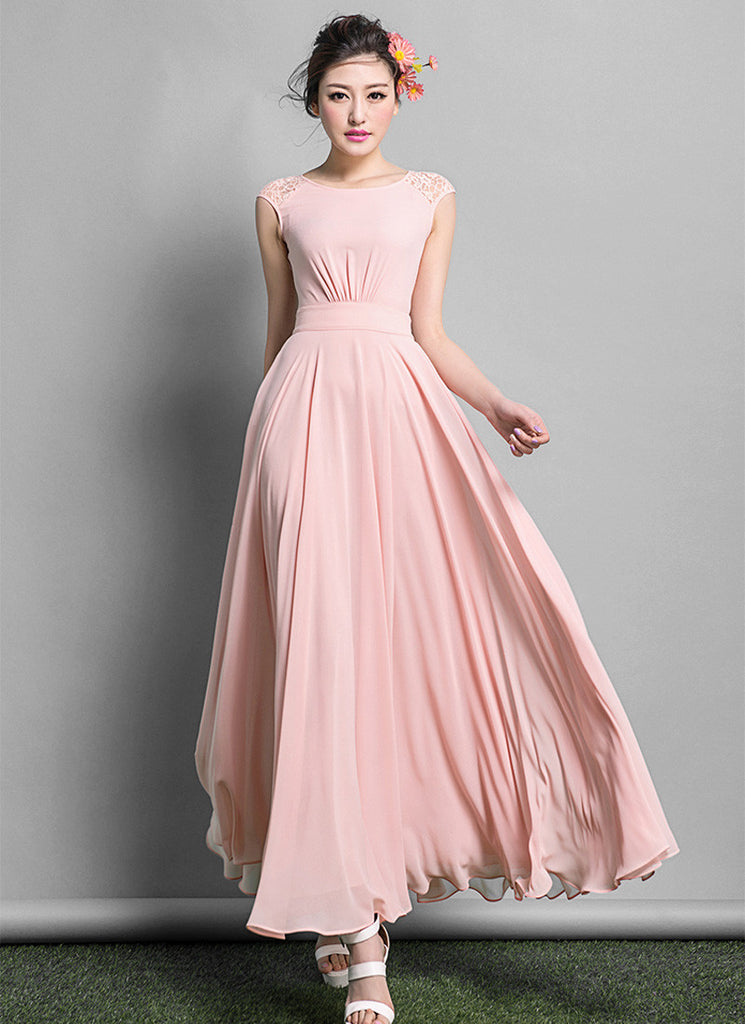 Dusty Rose Pink Chiffon Maxi Dress with Lace Details on Shoulder