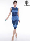 Elegant Knee Length Sleeveless Blue Lace Color Block Design Peplum Cocktail Dress