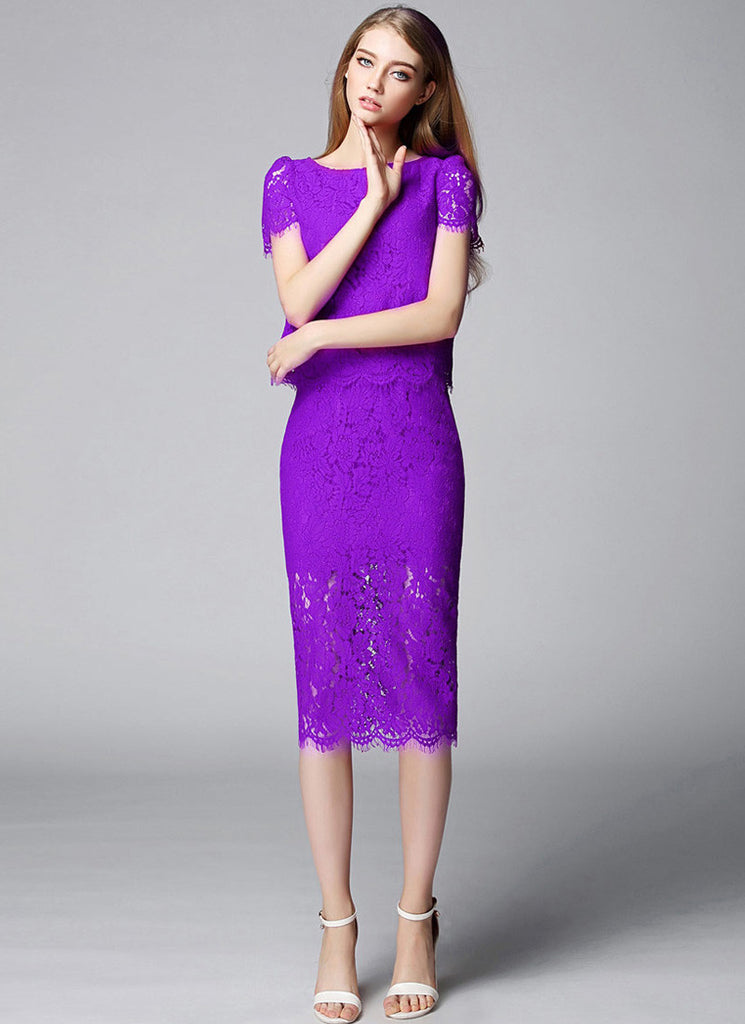 Orchid Purple Lace Min Sheath Dress with Scalloped Hem and Eyelash Details