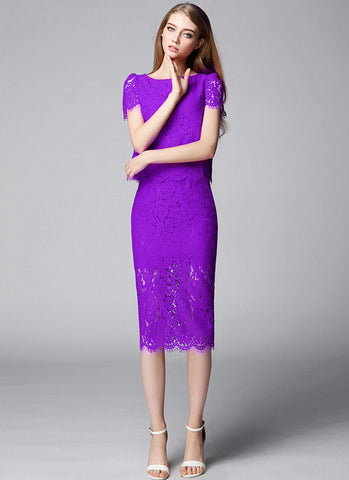 Orchid Purple Lace Min Sheath Dress with Scalloped Hem and Eyelash Details (Top + Skirt) RD561