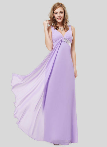 Empire Waisted Violet Evening Dress with Sequin Details RM496