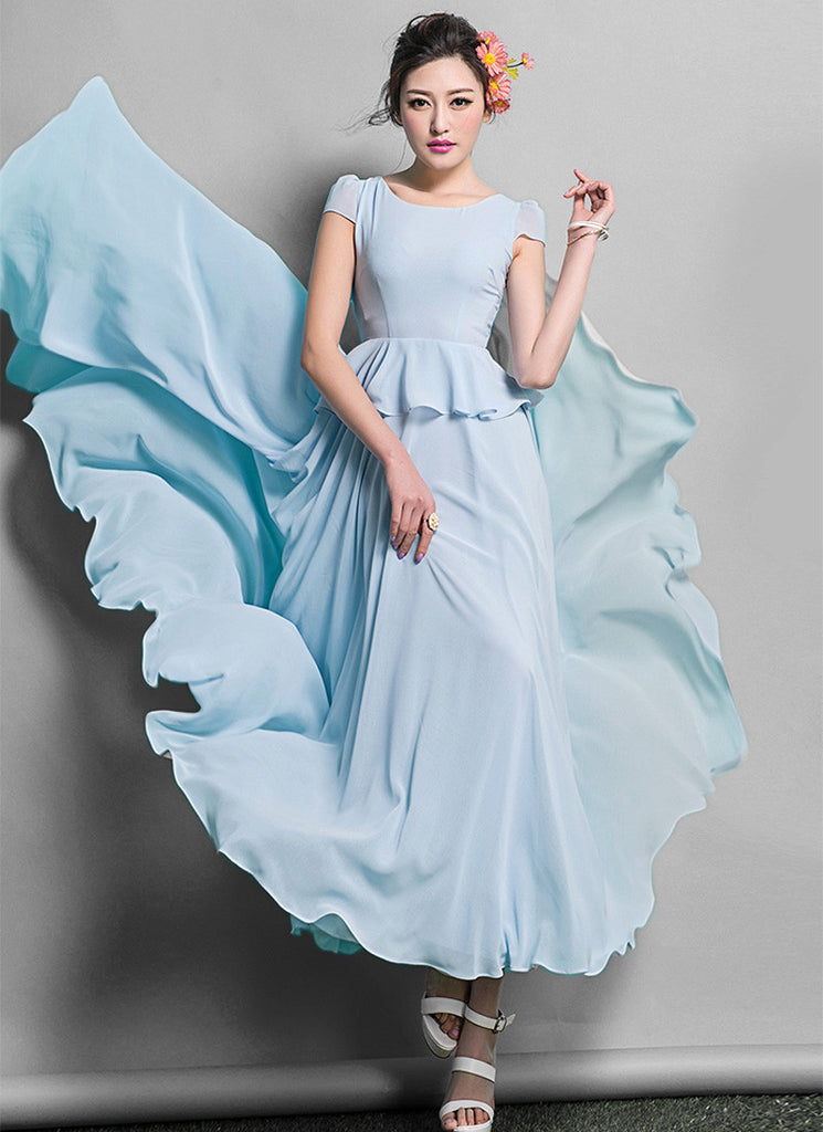Light Blue Peplum Maxi Dress with Cap Sleeves