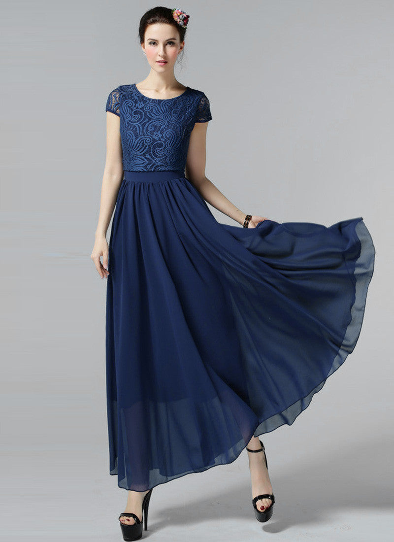 0f202e83415d Navy Lace Chiffon Maxi Dress with Cap Sleeves and Layered Waist ...