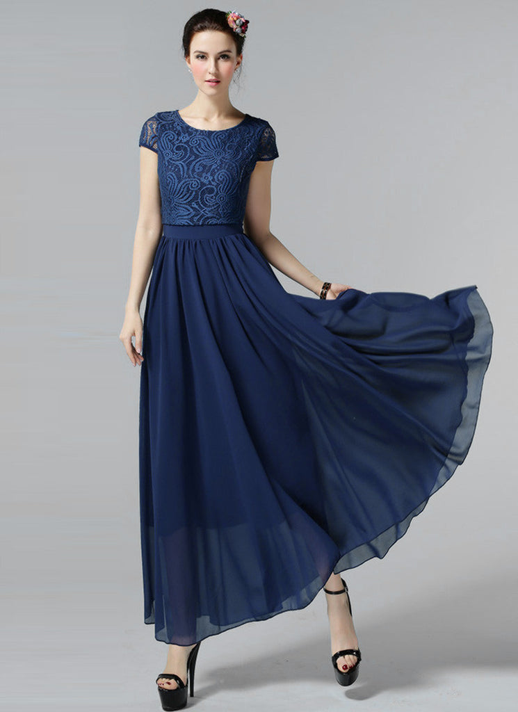 Navy Lace Chiffon Maxi Dress with Cap Sleeves and Layered Waist