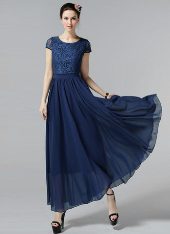 Navy Lace Chiffon Maxi Dress with Cap Sleeves and Layered Waist RM606