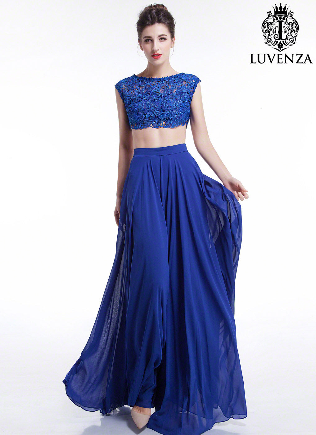Blue Lace and Chiffon Separates Evening Gown / Two Piece Cap Sleeves ...