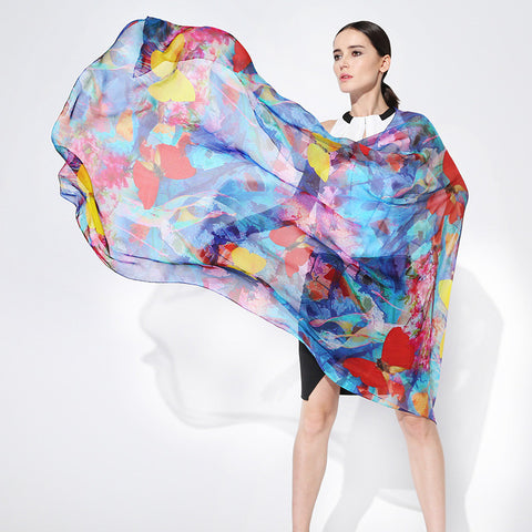 Digital Printed Silk Chiffon Scarf - Smudge and Butterfly Print Blue Silk Scarf - PS2-6