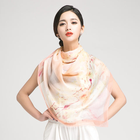 Peach Puff Silk Scarf with Subtle Floral Print - Large Nude Floral Silk Georgette Scarf Shaw - PS3-6