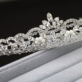 Hand Wired Bridal Headpiece - Luxurious Crystal Crown with Floral Pattern - Crystal and Rhinestone Bridal Halo HP18