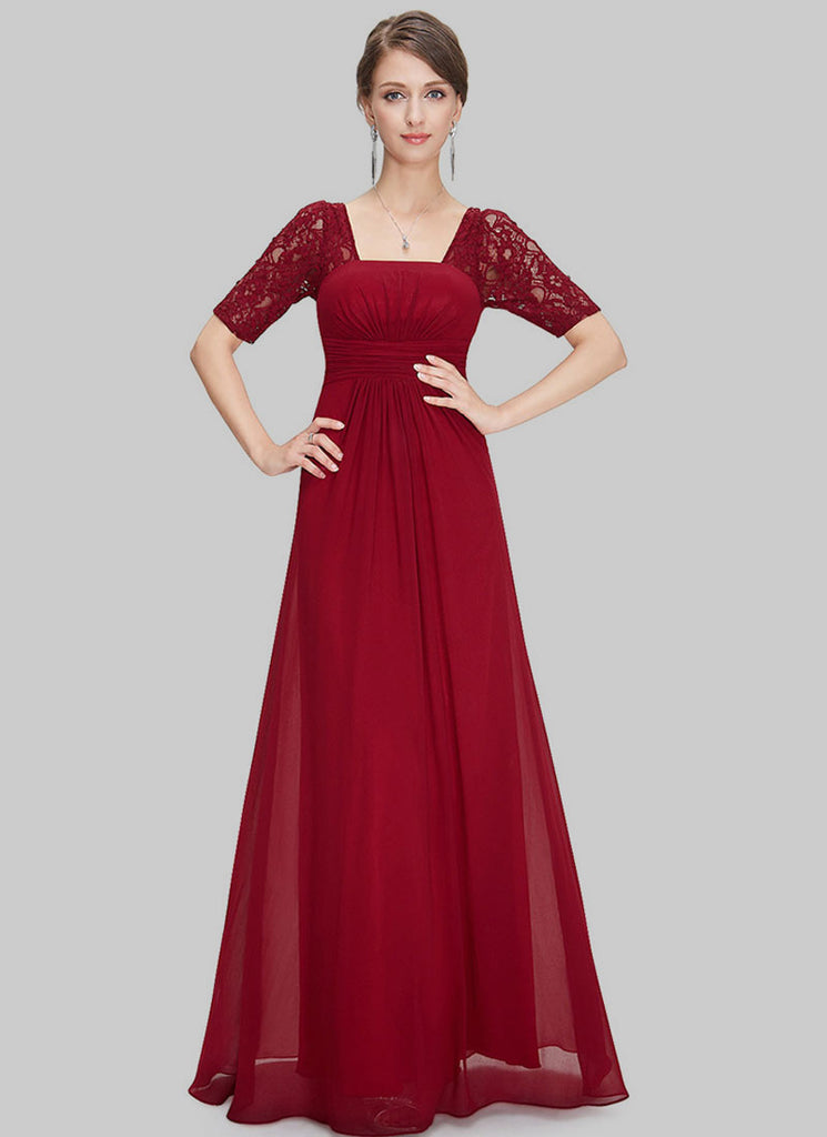 Empire Waisted Maroon Lace Chiffon Maxi Dress with Open Back