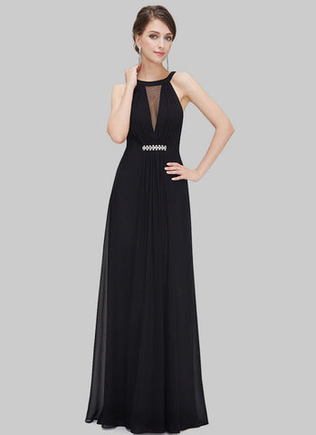 Black Chiffon Maxi Dress with Rhinestone Embellishment RM485
