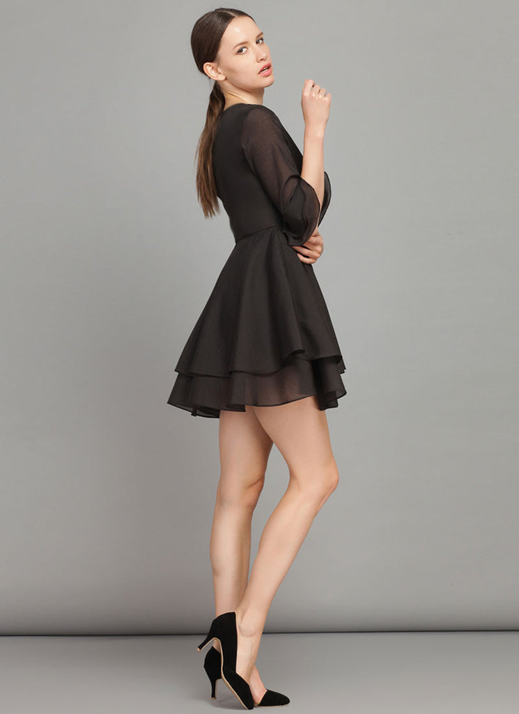 890e6e6554557 Black Fit and Flare Mini Dress with Trumpet Sleeves RD381 – RobePlus