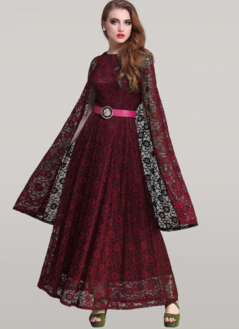 Maroon Lace Maxi Dress with Cloak RM312