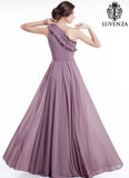 Pale Purple Asymmetrical Maxi Length Evening Dress with Ruffle Detail and One-shoulder Design