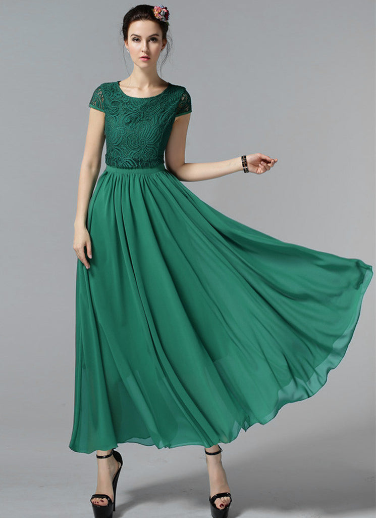 Green Lace Chiffon Maxi Dress with Cap Sleeves and Layered Waist