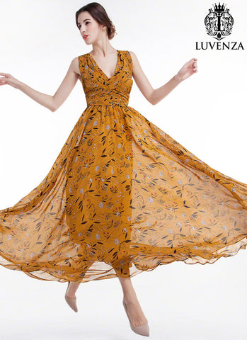 Sleeveless Mustard Yellow Floral Maxi Evening Dress with V Neck, Open Back and Pleated Wide Hem