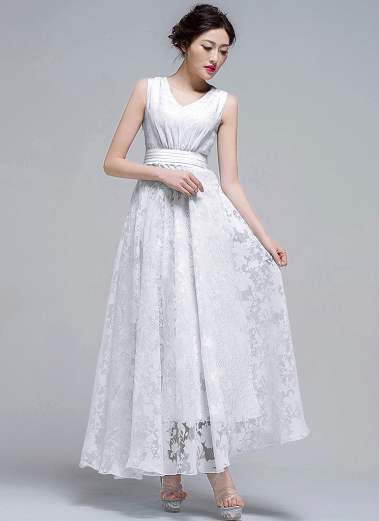White Organza Lace Maxi Dress with V Neck and Pleated Waist