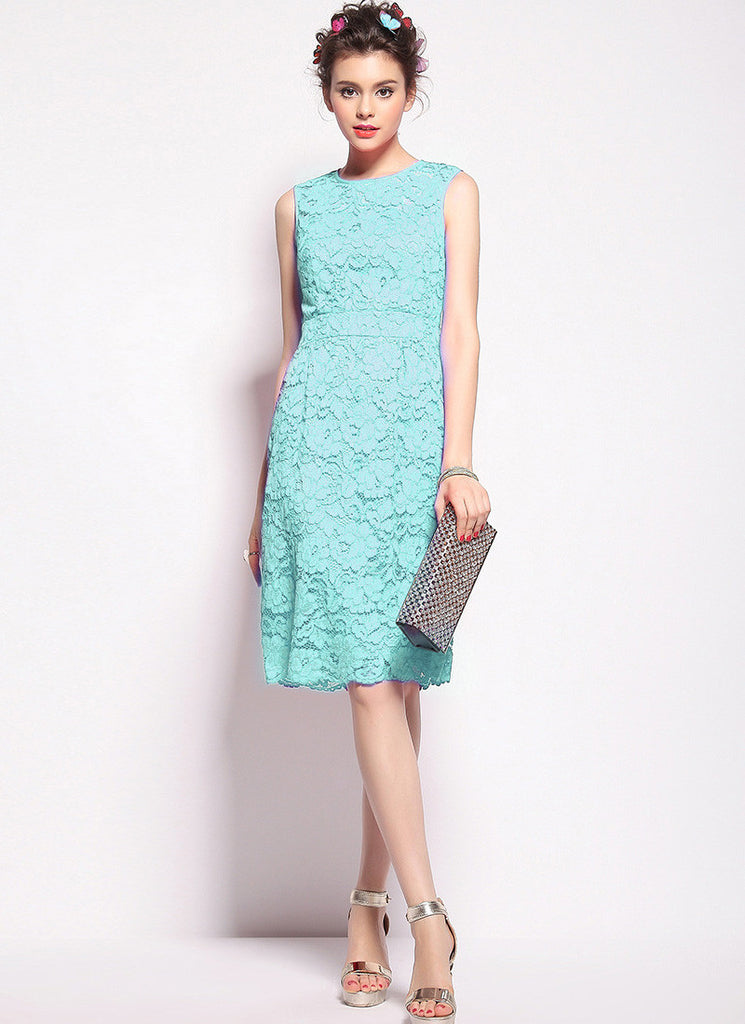 Turquoise Lace Aline Mini Dress with Scalloped Hem and Eyelash Finishes