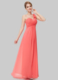Open Shoulder Light Coral Maxi Dress with 3D Floral Embellishment