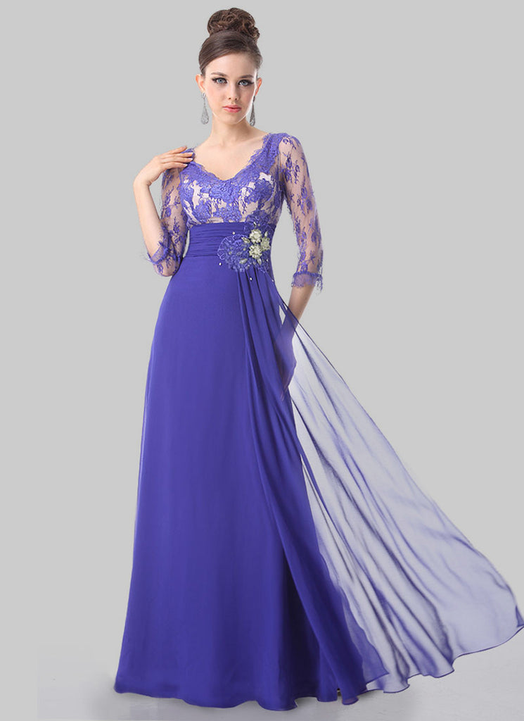 Slate Blue Lace Evening Gown with Appliqué and Rhinestone Embellishment