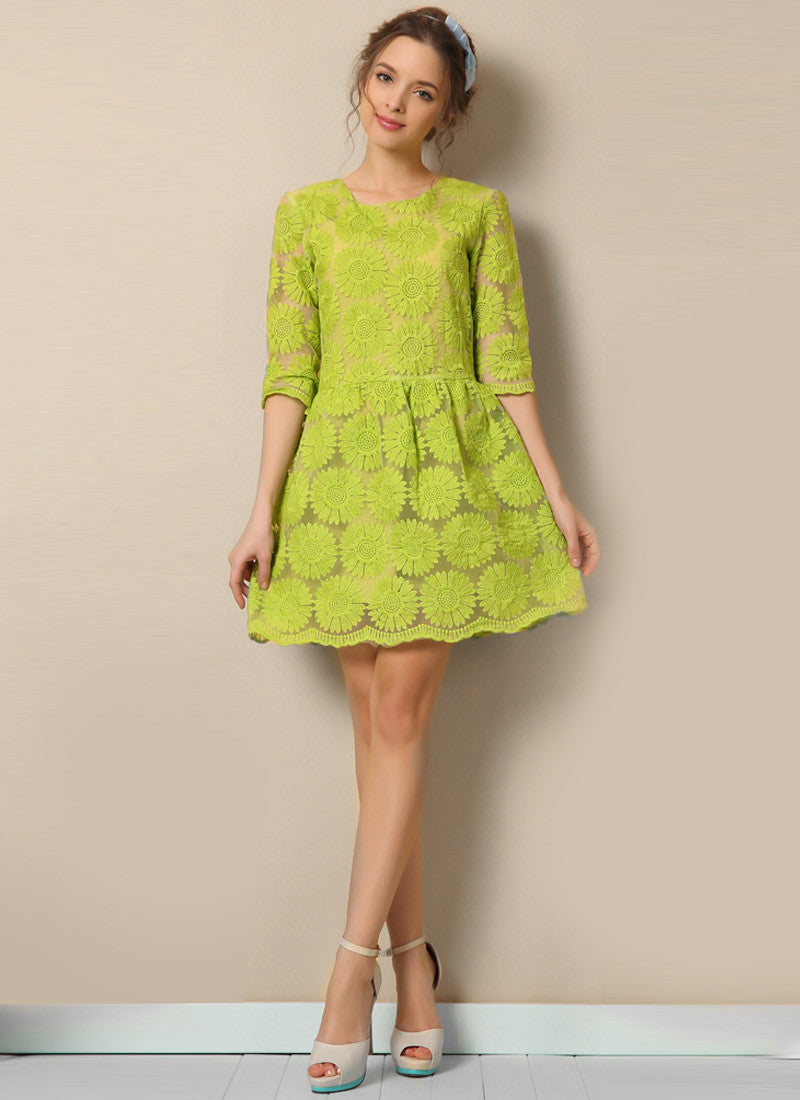 ab4b15d841af Light Green Sunflower Lace Aline Mini Dress with Elbow Sleeves RD624 ...