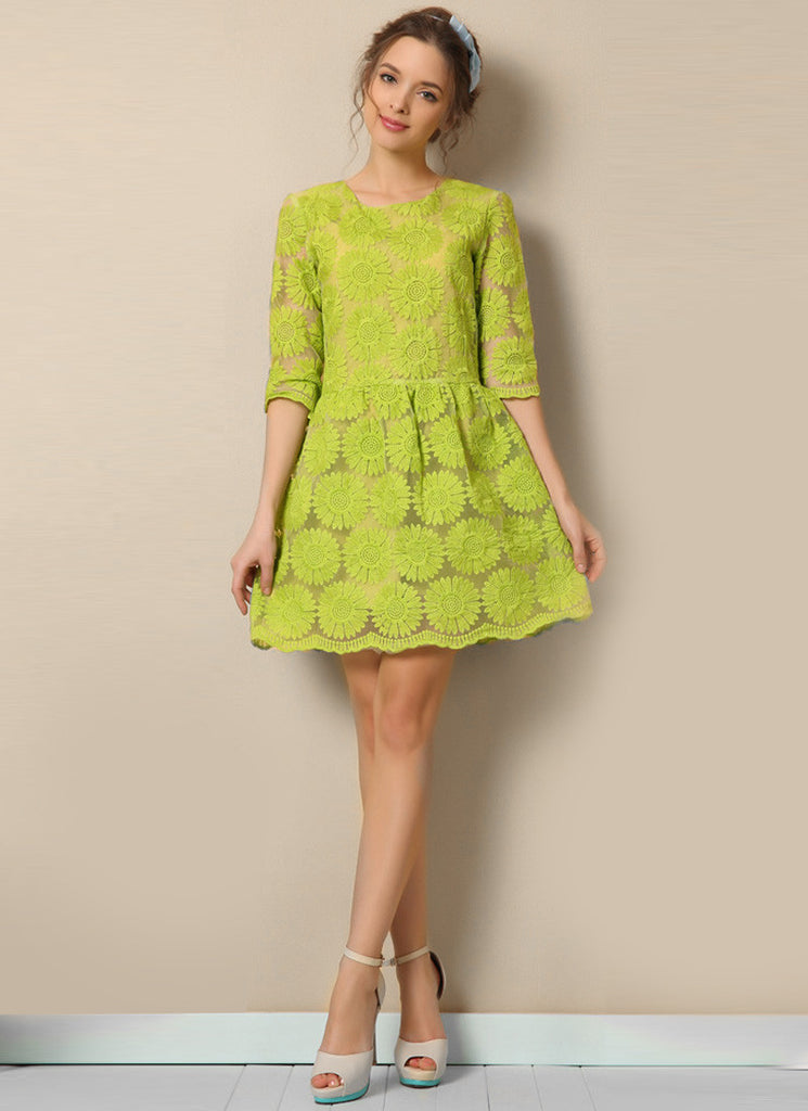Light Green Sunflower Lace Aline Mini Dress with Elbow Sleeves