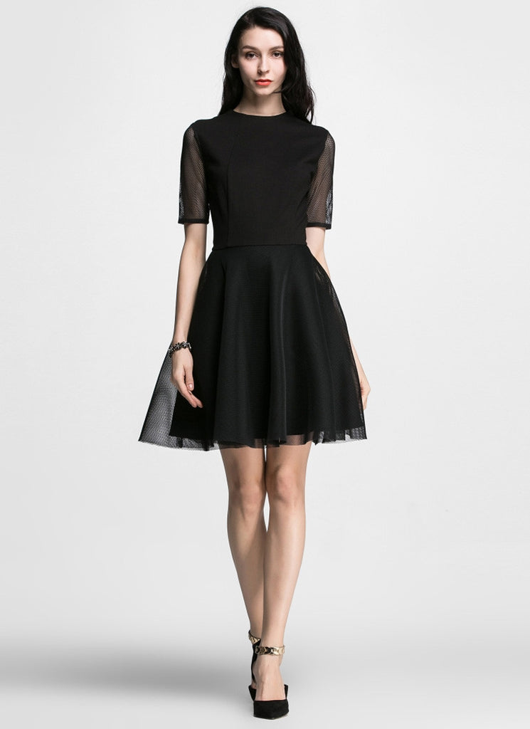 Black Tulle Mini Fit and Flare Dress with Elbow Sleeves