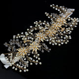 Hand Wired Bridal Headpiece - Crystal Wreath with Floral Pattern - Pearl and Crystal Bridal Halo HP6