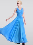 Sky Blue Maxi Dress with V Neck and Wide Ruched Waist Yoke