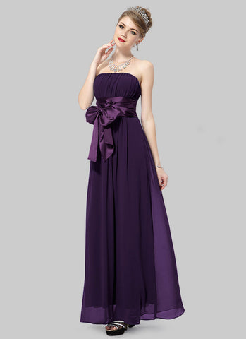 Strapless Dark Purple Maxi Dress with Wide Satin Waist Yoke and Sash RM460