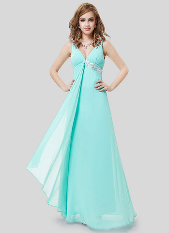 Empire Waisted Aquamarine Evening Dress with Sequin Details RM496