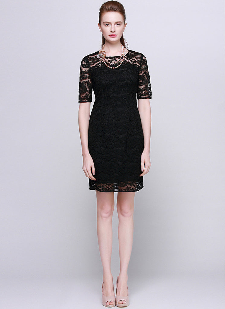 Black Lace Sheath Mini Dress with Elbow Sleeves - Little Black Dress RD544