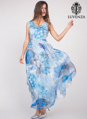 Sleeveless Blue Flower Print Mulberry Silk Chiffon Evening Dress