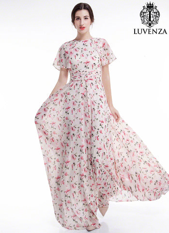 Dusty Rose Pink Chiffon Floral Conservative Maxi Evening Dress with Dolman Flutter Sleeves and Pleated Waist